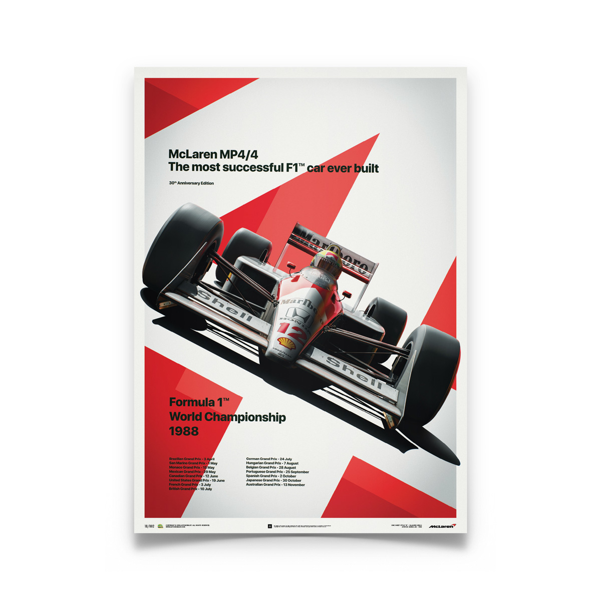 Ayrton Senna F1 Art Silk Poster 13x20 24x36  inch