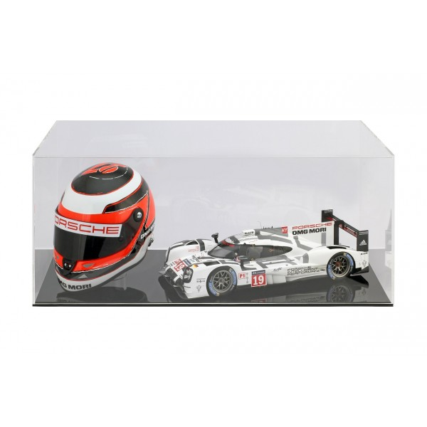 Showcase for 1 helmet in scale 1/2 and 1 model car in scale 1/18