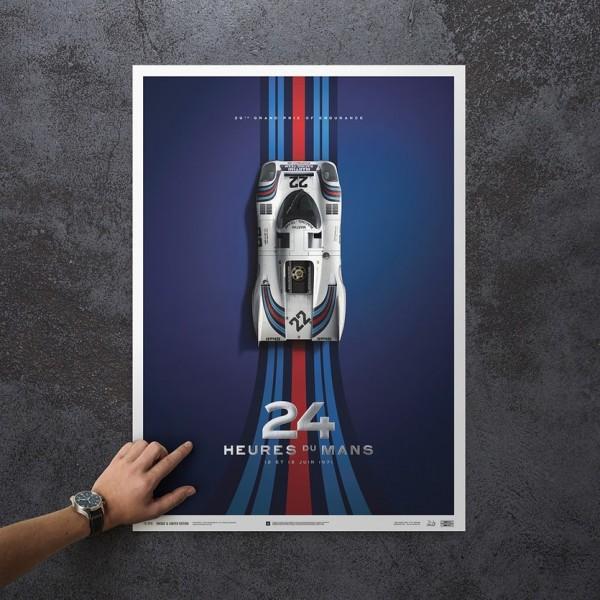 Poster Porsche 917 - Martini - 24h Le Mans - 1971