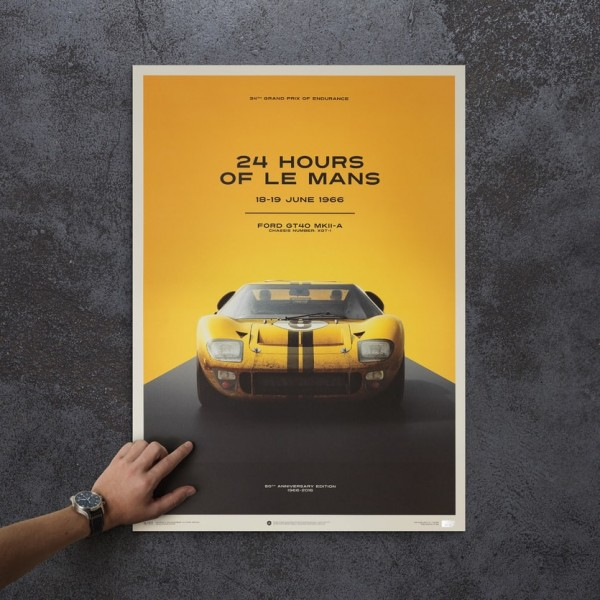 Poster Ford GT40 - Yellow - 24h Le Mans - 1966