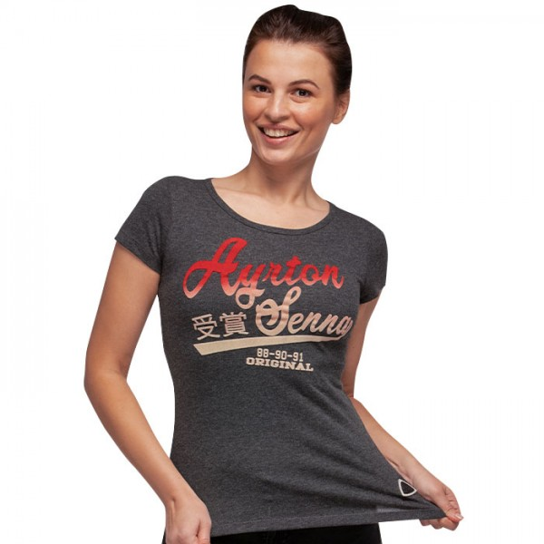 T-Shirt Ayrton Senna pour dames Gris Vintage