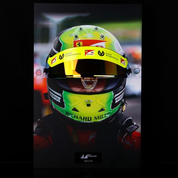 Mick Schumacher 2020 visor wall picture with original helmet visor 2020