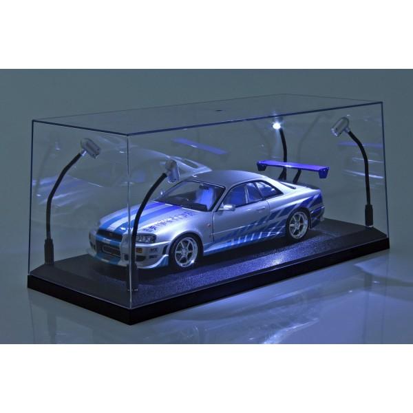 Einzelvitrine schwarz mit 4 beweglichen LED-Lampen für Maßstab 1:18