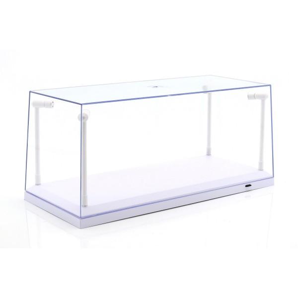 Vitrine unique blanc avec 4 lampes LED mobiles pour l'échelle 1/18