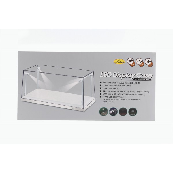 Einzelvitrine weiß mit 4 beweglichen LED-Lampen für Maßstab 1:18