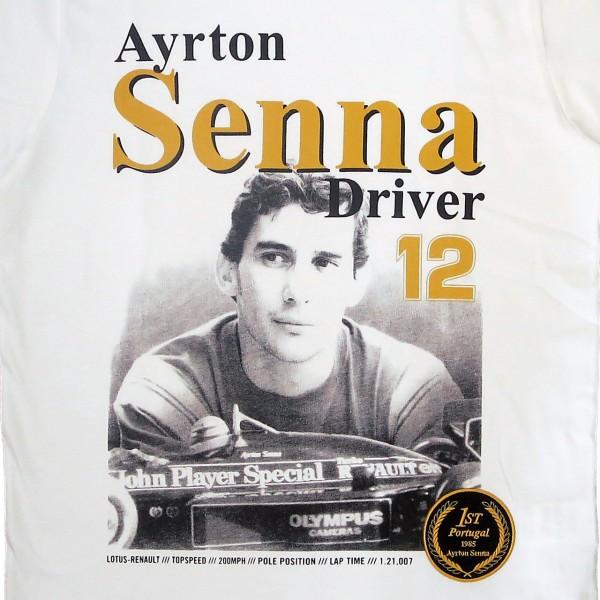 Ayrton Senna T-Shirt 1st Victory 1985 detail