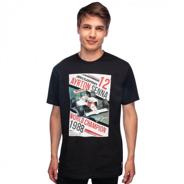 Ayrton Senna McLaren T-Shirt World Champion 1988 Black