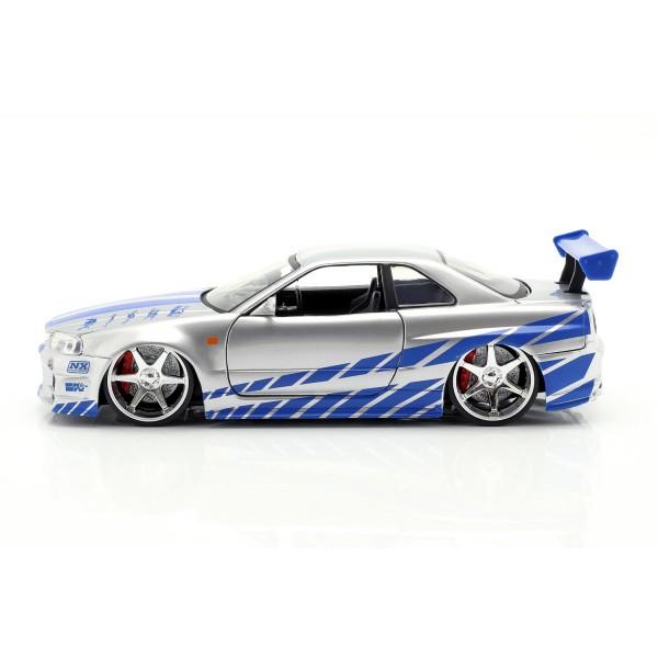 Fast & Furious Brian`s Nissan Skyline GT-R (R34) silver/blue 1/24