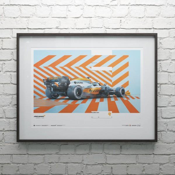 Poster McLaren Gulf Formel 1 Edition 1 - Lando Norris 2021 - Limited Edition