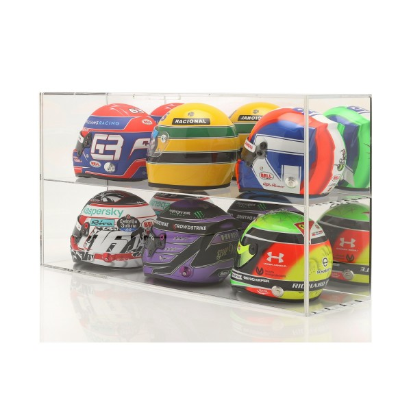 Display case for 1/2 scale helmets or 1/18 scale model cars mirrored