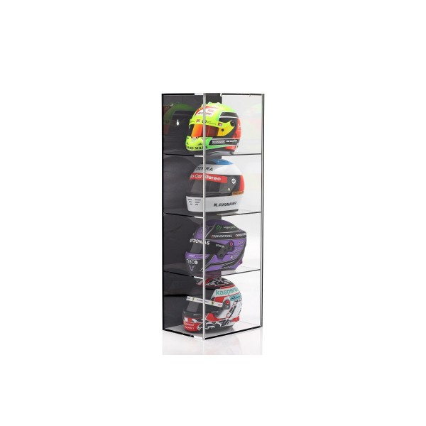 Display case for 4 helmets in 1/2 scale black
