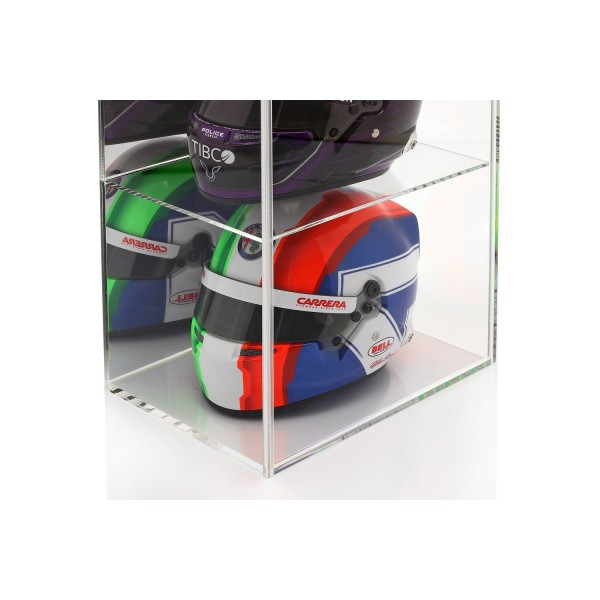Display case for 4 helmets in 1/2 scale mirrored