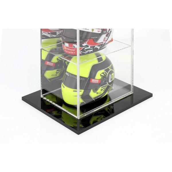 Floor-standing display case for 4 helmets in 1/2 scale mirrored