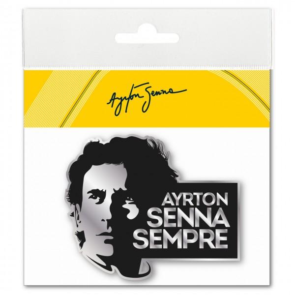 Ayrton Senna Sticker Sempre 3D EPOXY black-silver