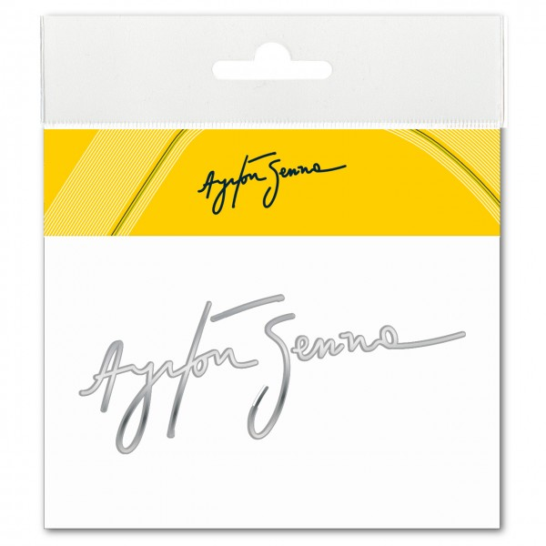 Ayrton Senna Sticker Signature 3D EPOXY silver