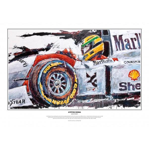 Ayrton Senna stampa d'arte McLaren 1993 di Armin Flossdorf