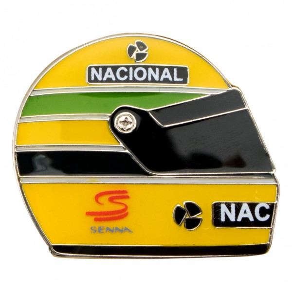 ayrton senna anstecker helm 1990. Black Bedroom Furniture Sets. Home Design Ideas