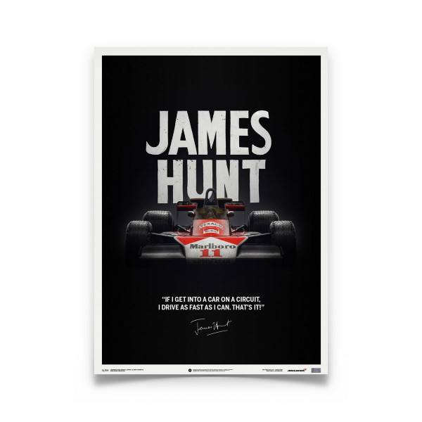 James Hunt Mclaren M23 Quote Japanese Gp 1976 Limited Poster