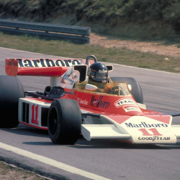 Hunt in the McLaren M23 in 1976.