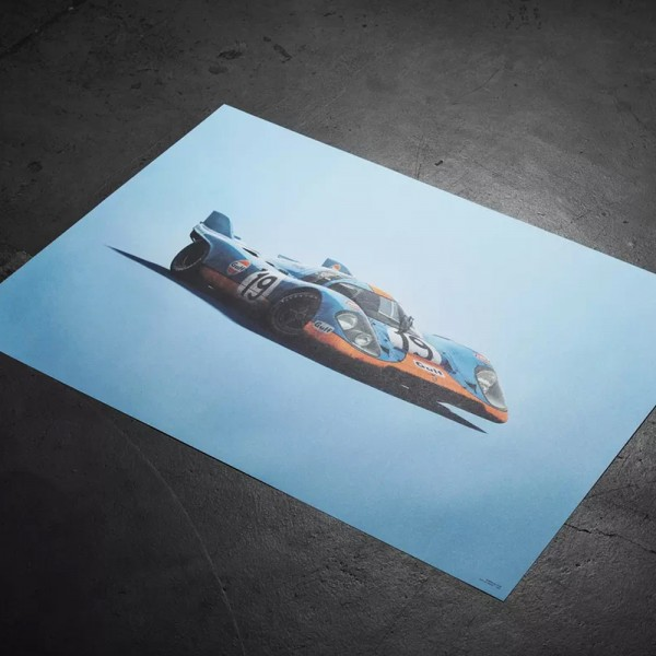 Poster Porsche 917 - Gulf - 24h Le Mans - 1971 - Colors of Speed