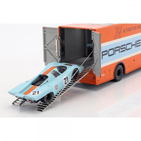 Mercedes-Benz O 317 Porsche Gulf race transporter model 1968 1/43 Schuco
