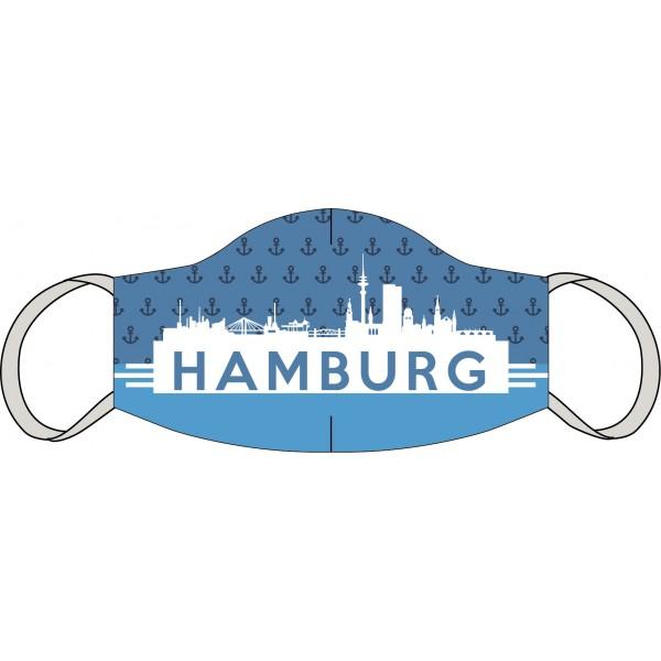 Mund-Nasen Maske Hamburg Skyline blau