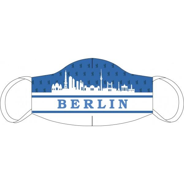 Mund-Nasen Maske Berlin Skyline blau