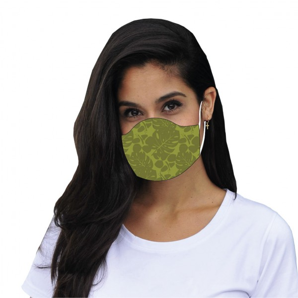 Mouth and nose mask Kiss Floral green