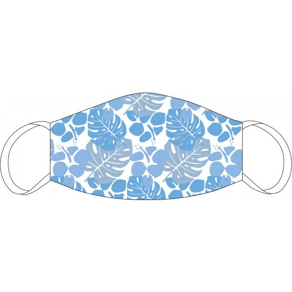 Mouth and nose mask Kiss Floral white-blue