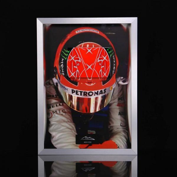Michael Schumacher Bild mit handlackierter Carbonplatte Helm 2012