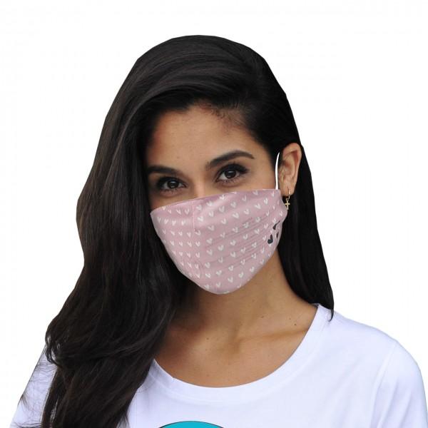 Masque de bouche et de nez petits coeurs roses