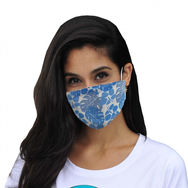 Mund-Nasen Maske Floral weiß-blau