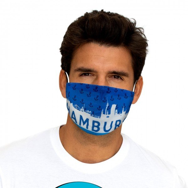 Mouth and nose mask Hamburg skyline blue