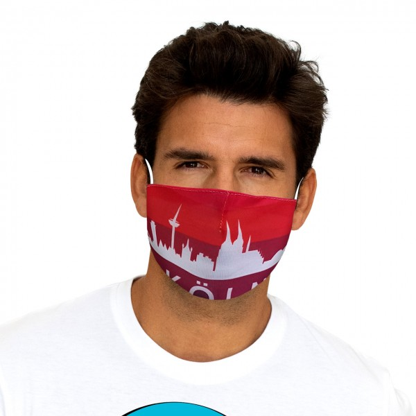 Mouth and nose mask Cologne skyline red