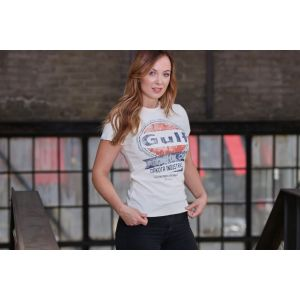 Gulf Camiseta Oil Racing mujer crema