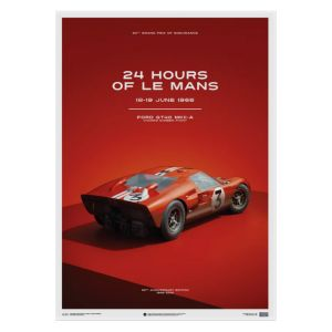 Poster Ford GT40 - Dan Gurney - Red - 24h Le Mans - 1966