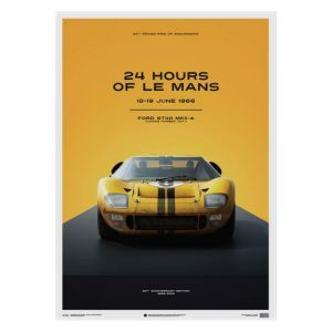 Poster Ford GT40 - Gelb - 24h Le Mans - 1966