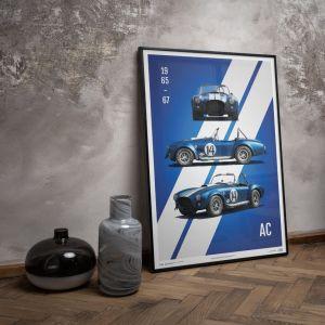 Poster Shelby-Ford AC Cobra Mk III - Blau - 1965