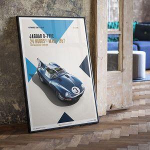 Affiche Jaguar D Type - Bleu - 24h Le Mans - 1957