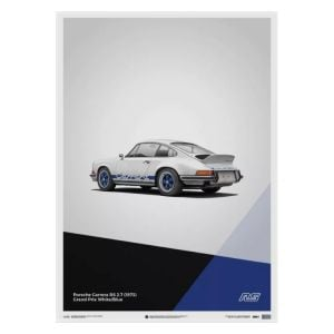 Cartel Porsche 911 RS - Blanco