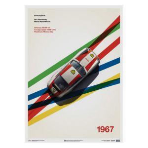 Poster Porsche 911R - BP Racing - Monza - 1967