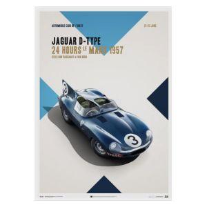 Poster Jaguar D Type - Blu - 24h Le Mans - 1957