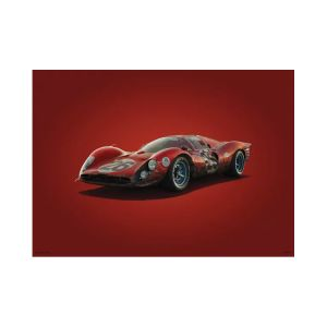 Cartel Ferrari 412P - Rojo - Daytona - 1967 - Colors of Speed