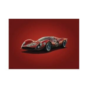 Poster Ferrari 412P - Rot - Daytona - 1967 - Colors of Speed