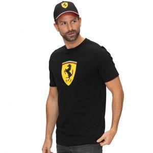 Nero XXL T-shirt da uomo FERRARI Cotone Classico V-Neck Tee F1 Formula One 1 Nuovo