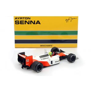 Ayrton Senna McLaren MP4/4 Minichamps 1/18 box back
