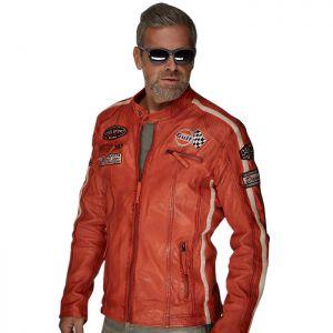 Gulf Chaqueta de cuero Racing naranja