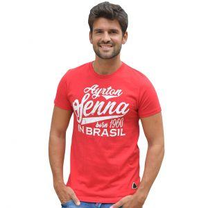 Ayrton Senna Camiseta Nacida en Brasil rojo