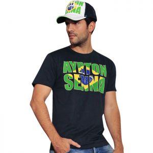 Ayrton Senna T-Shirt Brésil bleu foncé