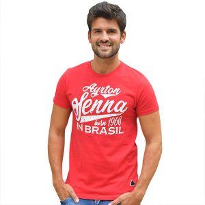Ayrton Senna T-Shirt Né à Brasil rouge
